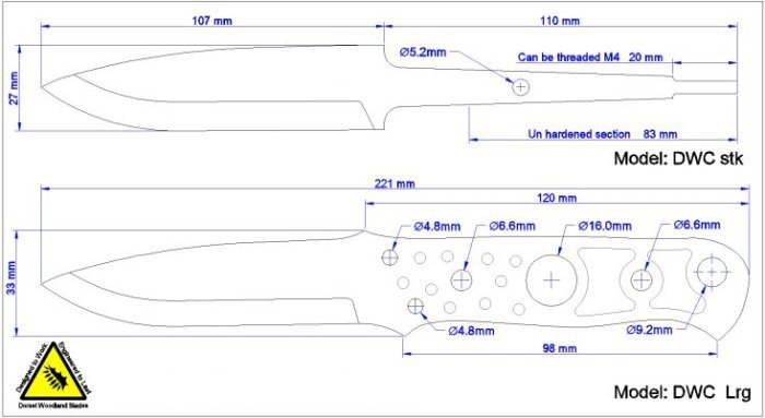 Drawing Knife Blade Dimensions